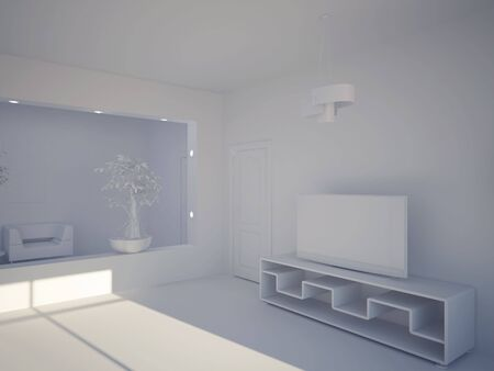 High resolution image interior. 3d illustration modern interior. Stock Illustration - 5163978
