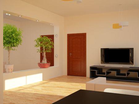 condo: High resolution image interior. 3d illustration modern interior.