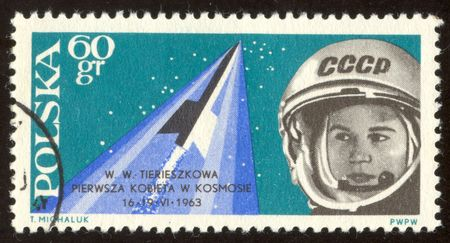 tereshkova: The scanned stamp. The Polish stamp. The first woman astronaut Valentine Tereshkova.