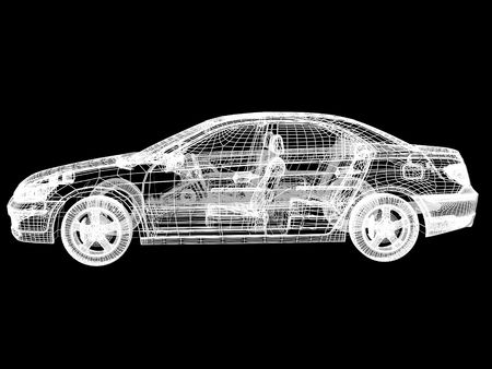 High resolution image car on a black background. 3d illustration. illustration