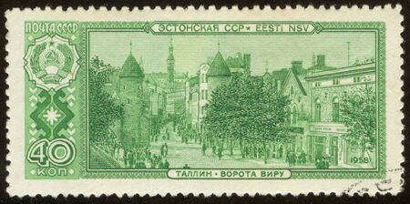 The scanned stamp. The Soviet stamp. The city of Tallinn, capital of Estonia. photo