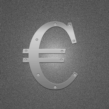 argentum: Symbol of the European money. Metal euro. The international sign on money.