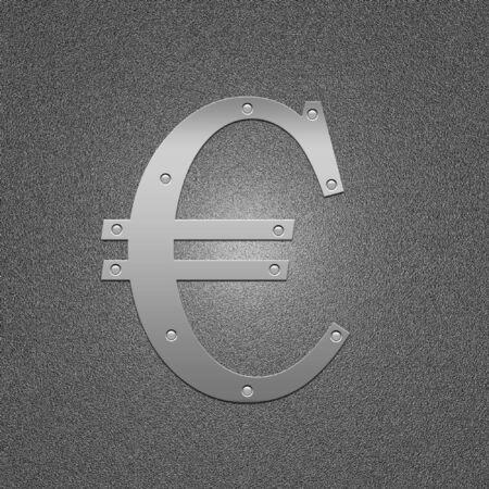 argentum: Symbol of the European money. Metal euro. The international sign on money.