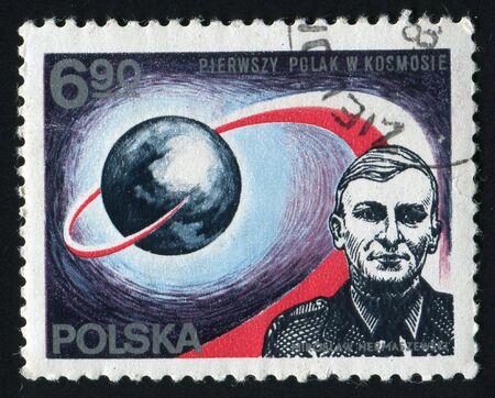 flew: POLAND -CIRCA 1980: Miroslaw Hermaszewski - Brigadier General pilot of the Polish Army, astronaut - the first Pole, who flew in space, circa 1980. Editorial
