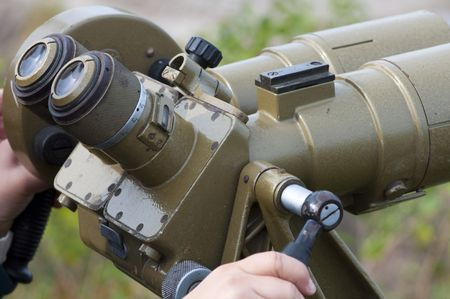 eyepiece: High resolution image. Military field glasses, for supervision over distant subjects. Stock Photo