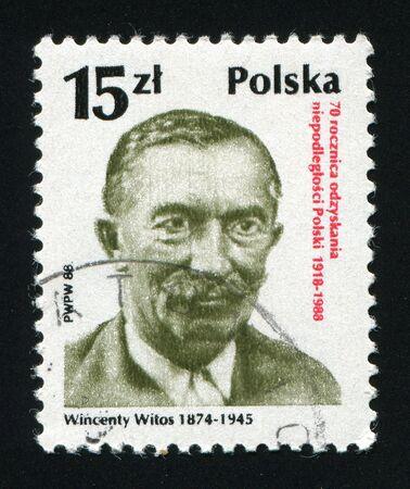 a faction: POLAND -CIRCA 1988: Wincenty Witos was a prominent member of the Polish Peoples Party from 1895, and leader of its Piast faction from 1913., circa 1988.
