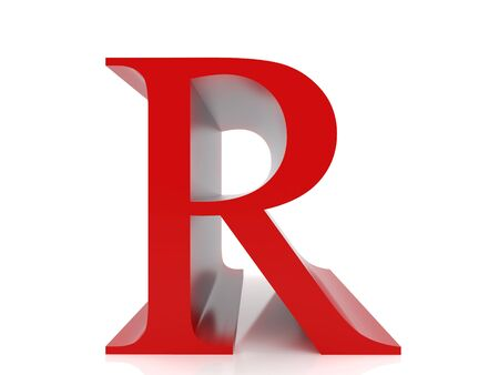 r image: illustrazione 3D su sfondo bianco. Immagine ad alta risoluzione. Lettera r.