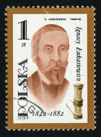 devised: POLAND -CIRCA 1982: Ignacy Lukasiewicz was a Polish pharmacist of armenian origin, who devised the first method of distilling kerosene from seep oil, circa 1982.