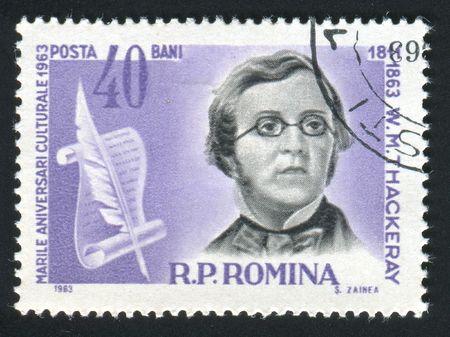 novelist: ROMANIA -CIRCA 1963: William Makepeace Thackeray was an English novelist of the 19th century, circa 1963.