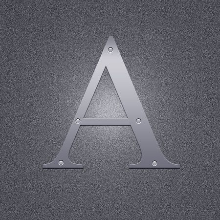 argentum: High resolution image. Letter A. Background from the metal letter. Stock Photo