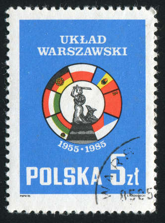 treaty: POLAND - CIRCA 1985: The Warsaw Treaty is the informal name for the mutual defense Treaty of Friendship, Cooperation and Mutual Assistance subscribed by eight Communist states in Eastern Europe, circa 1985.