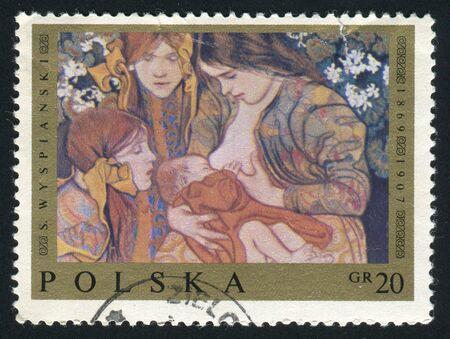 POLAND - CIRCA 1983: Stanisław Wyspiański was a Polish playwright, painter and poet, as well as interior and furniture designer, circa 1983.