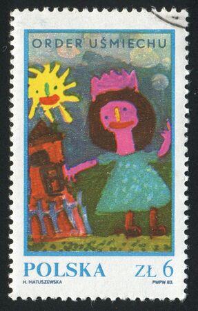 POLAND - CIRCA 1983: Childrens drawing Girl near house, circa 1983. photo