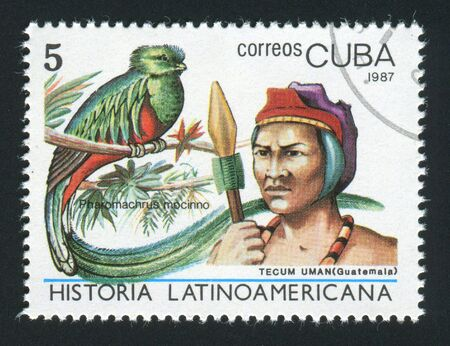 indian postal stamp: CUBA - CIRCA 1987: Latin American History, Indians and birds, circa 1987.