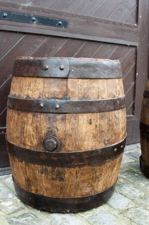 One old fashionned wood barrel. High resolution image. Wooden barrel. photo
