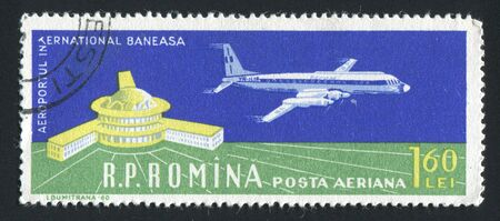 turbojet: ROMANIA - CIRCA 1960: Bucharest Airport and Turbo-jet, circa 1960.
