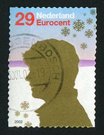 NETHERLANDS - CIRCA 2004: Christmas stamp. Head facing left, circa 2004. photo