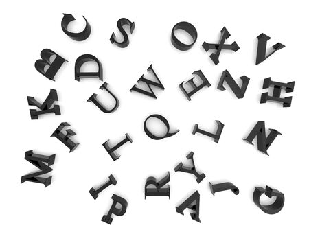 High resolution image alphabet. 3d illustration over  white backgrounds. illustration