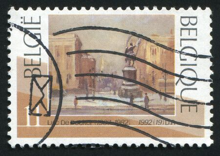 philately: BELGIUM - CIRCA 1992: The Brussels Place Royale in winter, by Luc De Decker, circa 1990.