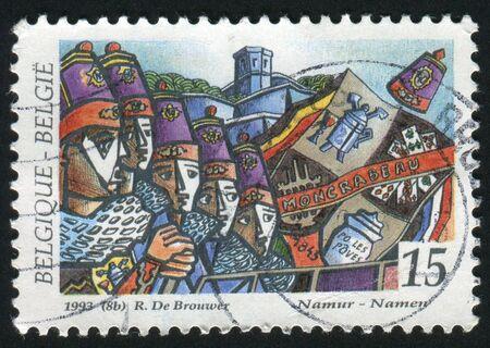 circa: BELGIUM - CIRCA 1993: Folklore Ommegang Procession, Brussels, circa 1993. Stock Photo