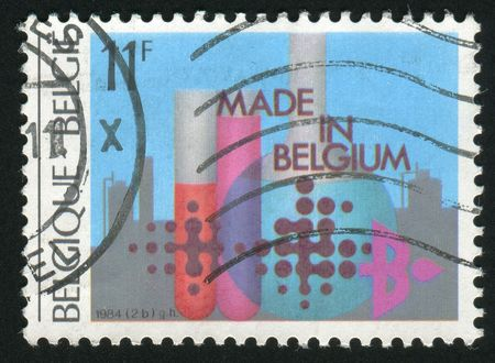 BELGIUM - CIRCA 1984: chemical flasks with reagents, circa 1984. photo