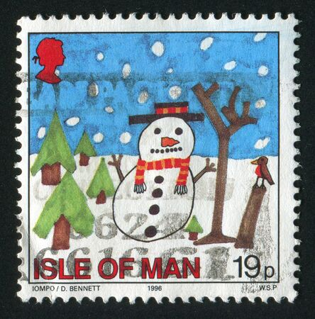 philately: ISLE OF MAN - CIRCA 1996: Snowman, circa 1996. Stock Photo