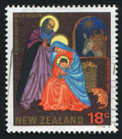 "NEW ZEALAND - CIRCA 1985: TCarol ""Silent Night, Holy Night,"" by Joseph Mohr (1792-1848), Austrian clergyman, circa 1985. photo"
