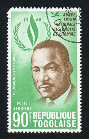 TOGO - CIRCA 1968: Martin Luther King war ein amerikanischer Geistlicher, Aktivist und prominenter Anführer in der afroamerikanischen Bürgerrechtsbewegung, circa 1968. Standard-Bild - 6132668