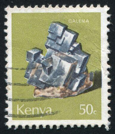 plumbum: KENYA - CIRCA 1977: Minerals Found in Kenya: Galena, circa 1977.