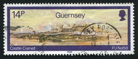 postoffice: GUERNSEY - CIRCA 1985: Watercolors by Paul Jacob Naftel. Castle Cornet, circa 1985.