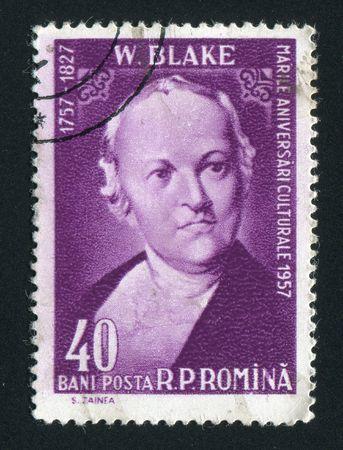 printmaker: ROMANIA - CIRCA 1958: William Blake  was an English poet, painter, and printmaker, circa 1958.
