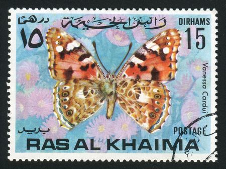 khaima: RAS AL KHAIMA - CIRCA 1978: Vanessa cardui is a well-known colourful butterfly, sometimes known in North America as the Cosmopolitan, circa 1978. Stock Photo
