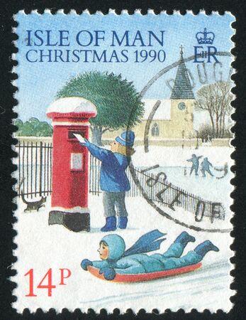 ISLE OF MAN  - CIRCA 1990: Christmas. Mailing letters, circa 1990. photo