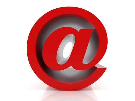 wei: 3d illustration over  white backgrounds. Rendering of an e-mail symbol. Stock Photo