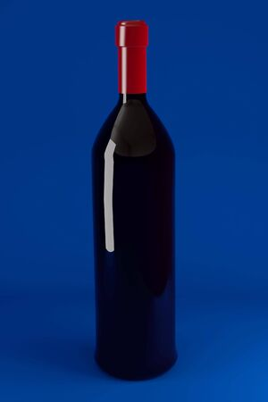 semisweet: Red wine bottle. 3d illustration. High resolution image.