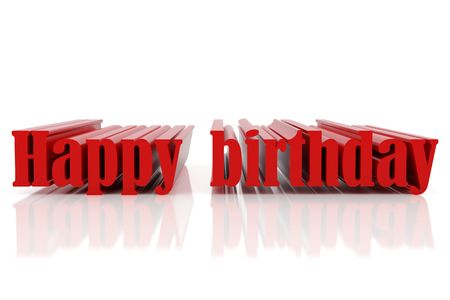 3d illustration. Redl text happy birthday. High resolution image. Stock Illustration - 6218729