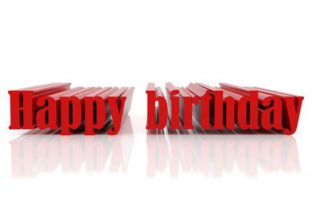 3d illustration. Redl text happy birthday. High resolution image. Stock Illustration - 6218729