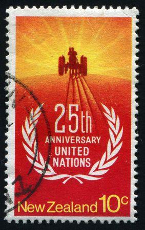 NEW ZEALAND - CIRCA 1977: 25th anniversary United nations, circa 1977. photo