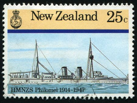 NEW ZEALAND - CIRCA 1985: Navy Ships. Philomel 1914- 1947, circa 1985. photo