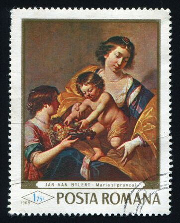 ROMANIA - CIRCA 1968: Madonna and child with fruit basket by Jan van Bylert, circa 1968. photo