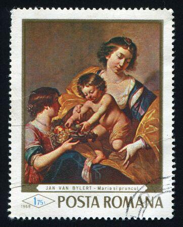 ROMANIA - CIRCA 1968: Madonna and child with fruit basket by Jan van Bylert, circa 1968. photo