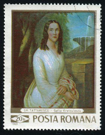 ROMANIA - CIRCA 1969: Sofia Kretzulescu, by Gheorghe Tattarescu, circa 1969.
