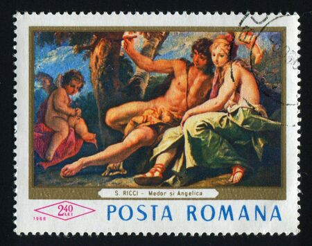 postoffice: ROMANIA - CIRCA 1968: Medor and Angelica by Sebastiano Ricci, circa 1968.