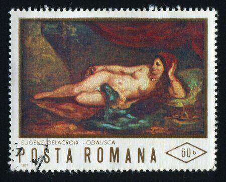 postal stamp: ROMANIA - CIRCA 1971: by Eugene Delacroix (odalisque), circa 1971.