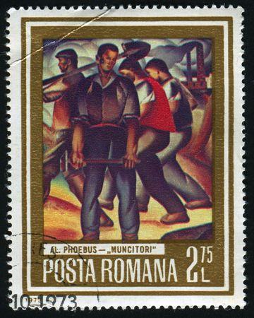 circa: ROMANIA - CIRCA 1973: Miners, by A. Phoebus, circa 1973.