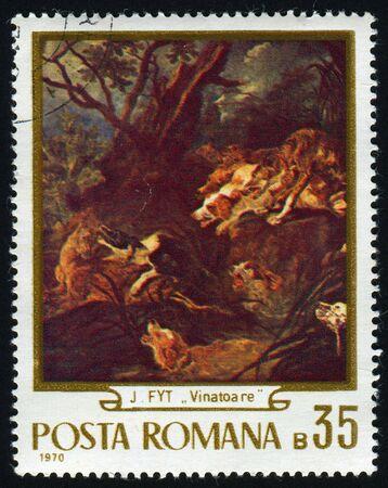 postoffice: ROMANIA - CIRCA 1970: The Hunt, by Jan Fyt, circa 1970. Stock Photo