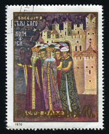 circa: ROMANIA - CIRCA 1970: Frescoes from North Moldavian Monasteries, circa 1970.
