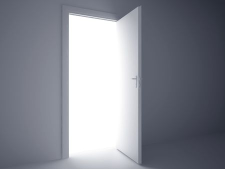 door way: 3d rendering the empty room with opened door. High resolution image.