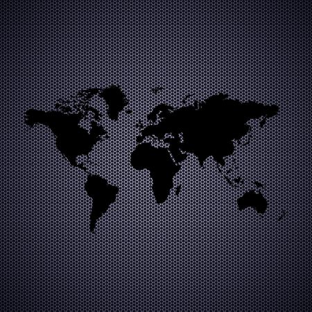 World map with metal background. High resolution image. photo