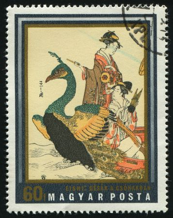 postoffice: HUNGARY -CIRCA 1971: Japanese prints from museum of east Asian art, Budapest Geisha in boat, by Yeishi, circa 1971.